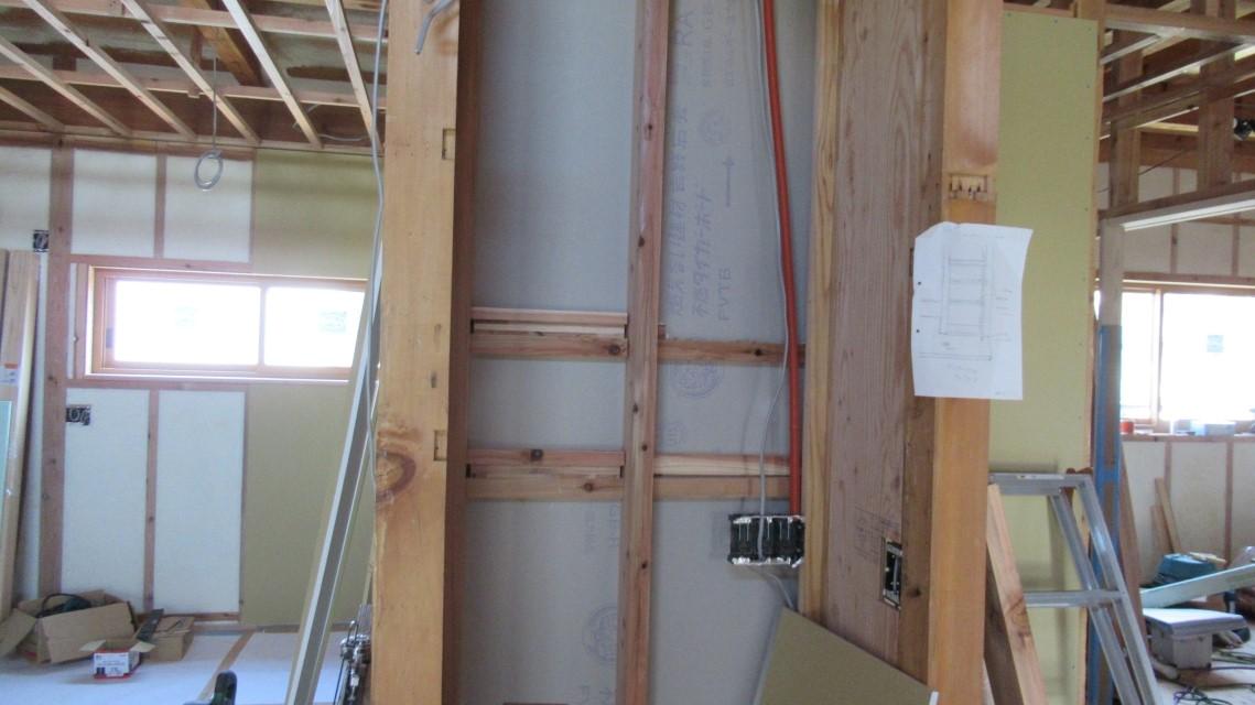 県木住リノベ:壁吹付断熱、ボード貼り